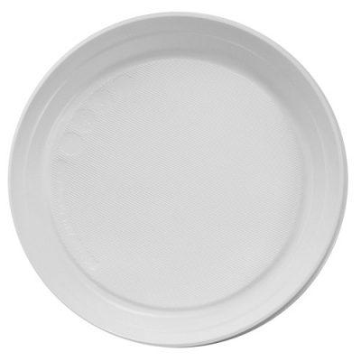Тарелка белая пластик d205 100 шт.
