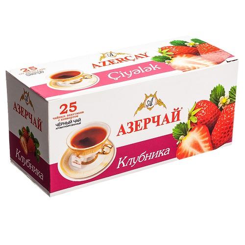 Чай Azercay черный с клубникой
