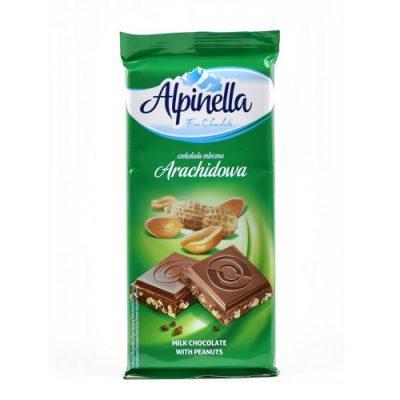 Шоколад молочный Alpinella арахис 90 г