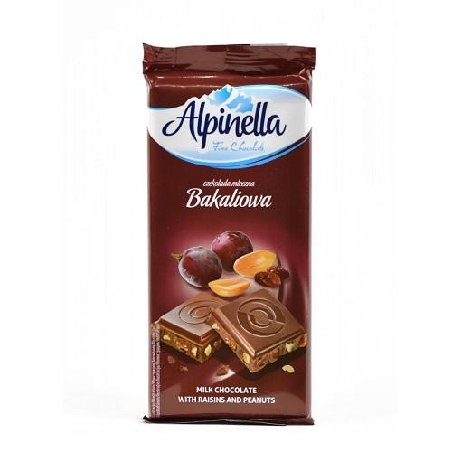 Шоколад молочный Alpinella изюм и арахис 90 г