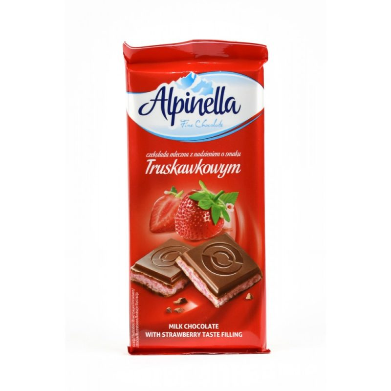 Шоколад молочный Alpinella клубника 90 г