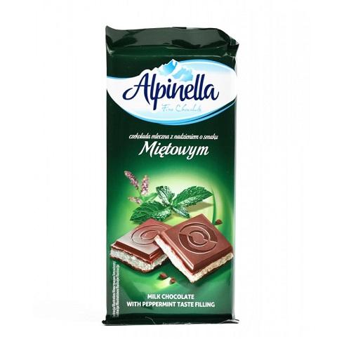 Шоколад молочный Alpinella мята 90 г