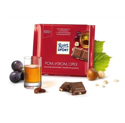 Шоколад молочный Ritter Sport ром, изюм, орех 100 г