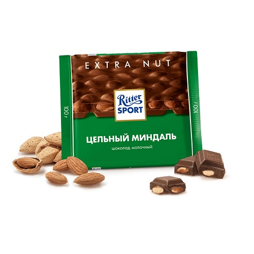 Шоколад молочный Ritter Sport цельный миндаль 100 г